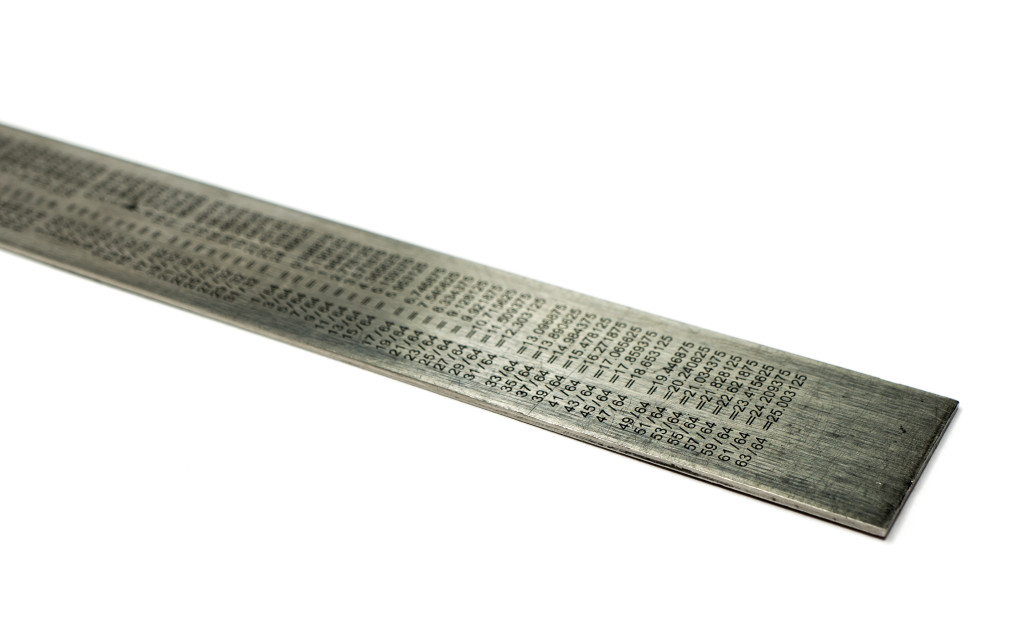Steel ruler with conversion table
