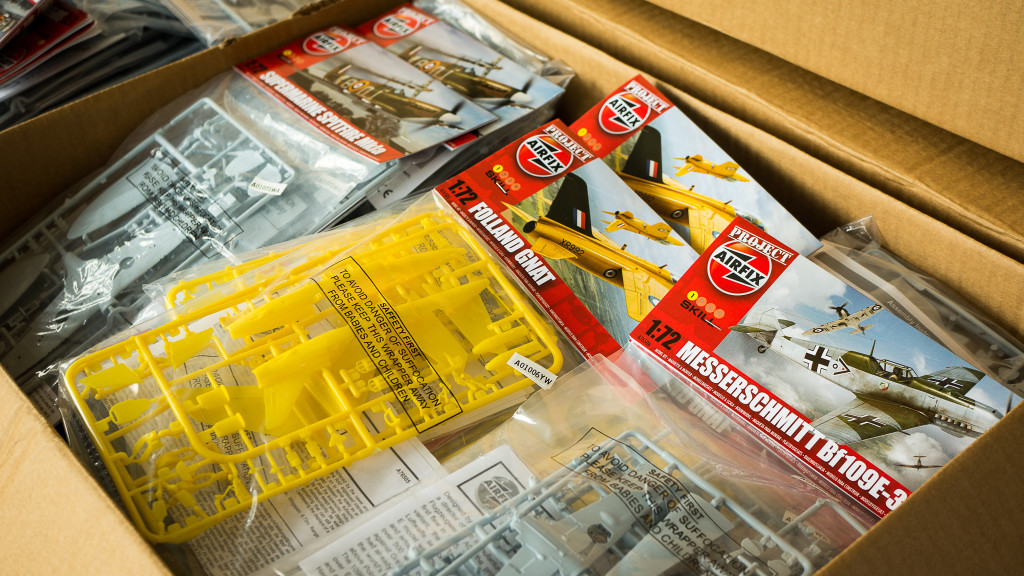 Boxes full of Project Airfix kits destined for Scale Models Expo